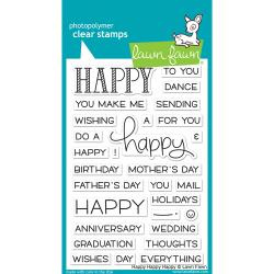 "LF1334 Lawn Fawn Clear Stamps Happy Happy Happy 4""X6"""