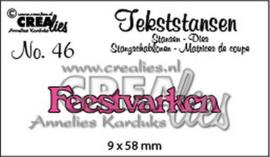 CLTS46 Crealies Tekststans no 46 feestvarken
