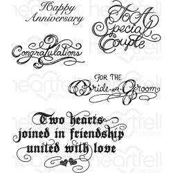 039892 Heartfelt Creations Cling Rubber Stamp Set Classic Wedding Wishes