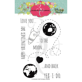 "624364 Colorado Craft Company Clear Stamps To The Moon-Whimsy World 4""X6"""