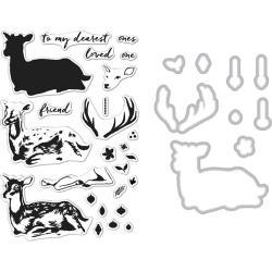 201625 Hero Arts Clear Stamp & Die Combo Deer