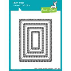 LF1322 Lawn Cuts Custom Craft Die Fancy Scalloped Rectangle Stackables