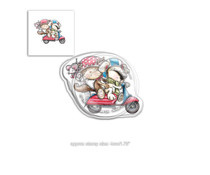 PD7866 Polkadoodles Horace & Boo Scooting Along Clear Stamp