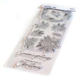 "PF127321 Pinkfresh Studio Clear Stamp Set Poinsettia 4""X12"""