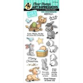 644024 Art Impressions Christmas Clear Stamp & Die Set Animal Nativity