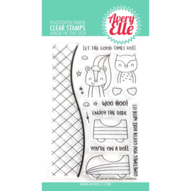 "634445 Avery Elle Clear Stamp Set Peek-A-Boo Coaster 4""X6"""