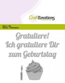 115633/0423 CraftEmotions Die Text - Gratuliere zum Geburtstag (DE) Card 11x9cm