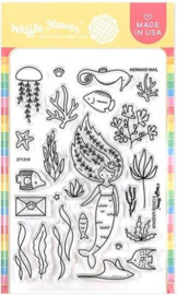 "634670 Waffle Flower Crafts Clear Stamps Mermaid Mail 4""X6"""