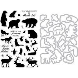 521073 Hero Arts Clear Stamp & Die Combo Winter Animals