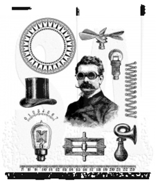 """CMS 373 Tim Holtz Cling Stamps The Professor 7""""X8.5"""""""