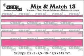 CLMix13 Crealies Mix & Match strips met dots