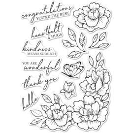 633277 Memory Box Clear Stamps Peony Garden Corner