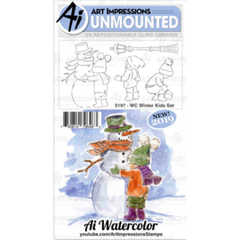 605092 Art Impressions Bible Journaling Watercolor Rubber Stamps WC Winter Kids