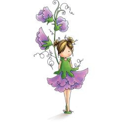 """401924 Stamping Bella Tiny Townie Cling Stamp Garden Girl Sweet Pea 6.5""""X4.5"""""""