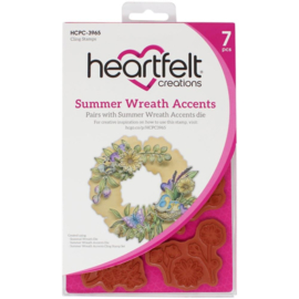 HCPC3965 Heartfelt Creations Cling Rubber Stamp Set Summer Wreath Accents