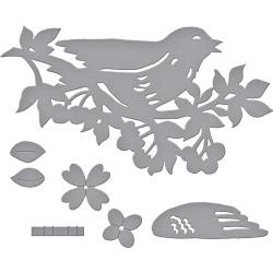 S2285 Spellbinders Shapeabilities Dies Bird On Cherry Branch
