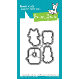 LF2561 Lawn Cuts Custom Craft Die Say What? Masked Critters