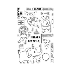 """659557 Hero Arts Clear Stamps Party Animals 4""""X6"""""""