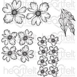 444607 Heartfelt Creations Cling Rubber Stamp Set Sweet Peony-Small