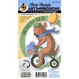 571600 Art Impressions Circlet Mini TryFolds Stamp & Die Set Birthday Dog