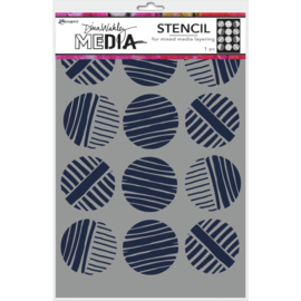 "MDS 74878 Dina Wakley Media Stencils Lined Circles 9""X6"""