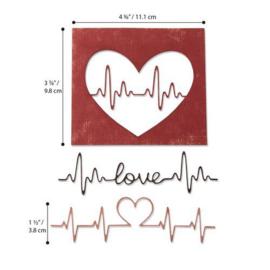 664416 Sizzix Thinlits Die Heartbeat Tim Holtz 3pk