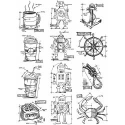 343793 Tim Holtz Cling Rubber Stamp Set Mini Blueprints #9