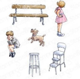 EB928 Stamping Bella Cling Stamps Edgar And Molly's Vintage Bench Set