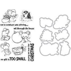 521032 Hero Arts Clear Stamp & Die Combo Christmas Mice