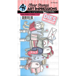 605204 Art Impressions Critter Cubbies Clear Stamp & Die Set Happy Mailbox