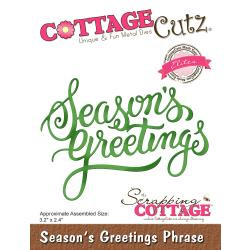 "540423 CottageCutz Elites Die Season's Greeting Phrase 3.2""X2.4"""