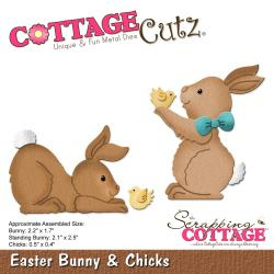 "303266 CottageCutz Elites Die Easter Bunny & Chicks, .05"" To 2.2"""