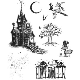 "CMS 308 Tim Holtz Cling Stamps Haunted House 7""X 8.5"""