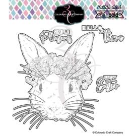 653839 Colorado Craft Company Metal Die Set  Hello Bunny-Big & Bold