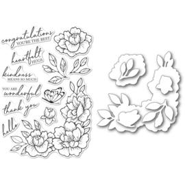 633279 Memory Box Stamp & Die Set Peony Garden Corner