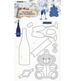 STENCILCNB376 StudioLight Cutting & Emb. Die Cardshape Celebrate new beginnings nr.376