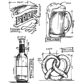 "CMS 334 Tim Holtz Cling Stamps Beer Blueprint 7""X8.5"