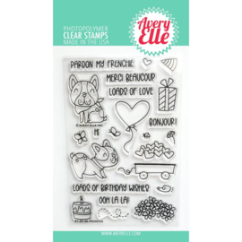 "646523 Avery Elle Clear Stamp Set Frenchie 4""X6"""