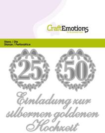 115633/0410 CraftEmotions Die Tekst - Einladung 25 50 Hochzeit
