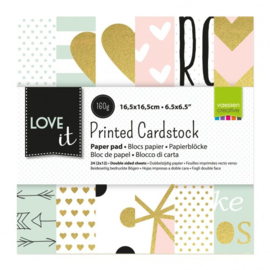 "200105-001 Vaessen Creative Love It cardstock 6x6"" 2x12 double sided"
