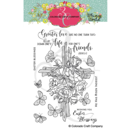 "653840 Colorado Craft Company Clear Stamps Rose Cross-Whimsy World 4""X6"""