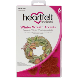 HCPC3967 Heartfelt Creations Cling Rubber Stamp Set Winter Wreath Accents