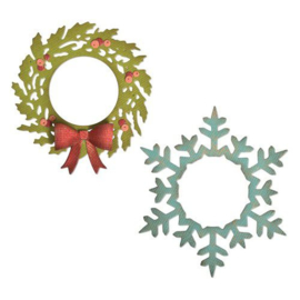 664210 Sizzix Thinlits Die Set 6PK Wreath & Snowflake Tim Holtz