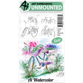 571635 Art Impressions Watercolor Cling Rubber Stamps Bicycle