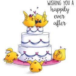 """401191 Stamping Bella Cool Chicks Cling Stamp Wedding Cake Chicks 6.5""""X4.5"""""""