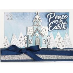 663163 Sizzix Framelits Die & Stamp Set Church, Peace On Earth By Katelyn Lizardi 9/Pkg