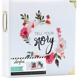 "380267 Heidi Swapp Storyline2 D-Ring Album White Floral 8.5""X11"""