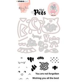 KJ-MBKJ-SCD03 KJ Stamp & Cutting Die, Building Pets Cat Missees nr.03