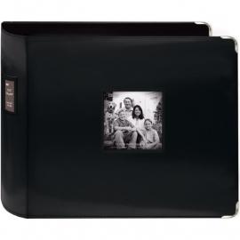 "459638 Sewn Leatherette 3-Ring Binder 12""X12"" Black"