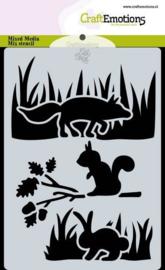 185070/0121 CraftEmotions Mask stencil Magic Forest - dieren Carla Creaties